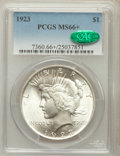 Peace Dollars: , 1923 $1 MS66+ PCGS. CAC. PCGS Population (1700/46). NGC Census:(2973/89). Mintage: 30,800,000. Numismedia Wsl. Price for p...