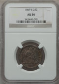Seated Quarters, 1869-S 25C AU50 NGC....