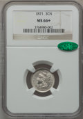 Three Cent Nickels, 1871 3CN MS66+ NGC. CAC....