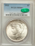 Peace Dollars: , 1922 $1 MS66+ PCGS. CAC. PCGS Population (598/21). NGC Census:(1427/36). Mintage: 51,737,000. Numismedia Wsl. Price for pr...