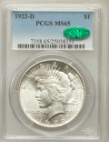 Peace Dollars: , 1922-D $1 MS65 PCGS. CAC. PCGS Population (1094/156). NGC Census:(915/239). Mintage: 15,063,000. Numismedia Wsl. Price for...