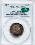 Proof Barber Quarters, 1897 25C PR64 Cameo PCGS. CAC....
