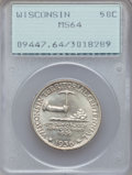 Commemorative Silver: , 1936 50C Wisconsin MS64 PCGS. PCGS Population (1308/4196). NGCCensus: (653/2928). Mintage: 25,015. Numismedia Wsl. Price f...