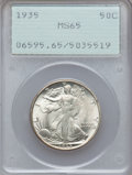Walking Liberty Half Dollars: , 1935 50C MS65 PCGS. PCGS Population (1061/456). NGC Census:(683/244). Mintage: 9,162,000. Numismedia Wsl. Price for proble...