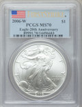 Modern Bullion Coins, 2006-P Silver Eagle 20th Anniversary First Strike Three-Piece SetPCGS.... (Total: 3 coins)