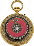 Timepieces:Pocket (pre 1900) , A. Veronesi & Co. Cairo Very Fine Pink Enamel & DiamondWatch For The Turkish Market, circa 1881. ...
