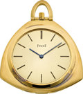Timepieces:Pocket (post 1900), Piaget Unusual Gold Pocket/Desk Watch. ...