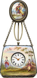 Timepieces:Pocket (pre 1900) , Swiss Viennese Enameled Purse Form Watch, circa 1860's. ...