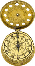 Timepieces:Pocket (pre 1900) , Unsigned Early 17th Century Gilt Tambour-Shaped Single Hand Watch....