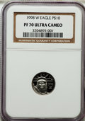 Modern Bullion Coins: , 1998-W P$10 Tenth-Ounce Platinum Eagle PR70 Ultra Cameo NGC. NGCCensus: (451). PCGS Population (74). Mintage: 19,919. Numi...