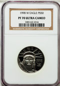 Modern Bullion Coins: , 1998-W P$50 Half-Ounce Platinum Eagle PR70 Ultra Cameo NGC. NGCCensus: (462). PCGS Population (428). Mintage: 13,919. Numi...