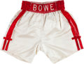 Boxing Collectibles:Memorabilia, 1990's Riddick Bowe Fight Worn Boxing Trunks....