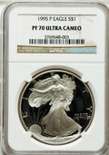 Modern Bullion Coins: , 1995-P $1 Silver Eagle PR70 Ultra Cameo NGC. NGC Census: (841).PCGS Population (541). Numismedia Wsl. Price for problem f...