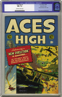Aces High #1 Gaines File pedigree 1/12 (EC, 1955) CGC NM+ 9.6 Off-white to white pages. This book's in immaculate condit...