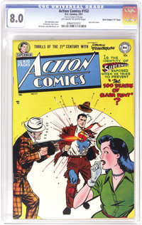 """Action Comics #153 Davis Crippen (""""D"""" Copy) pedigree (DC, 1951) CGC VF 8.0 Off-white to white pages. A mob bos..."""