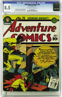 Adventure Comics #76 (DC, 1942) CGC VF+ 8.5 Off-white to white pages. Joe Simon and Jack Kirby do double duty in this te...