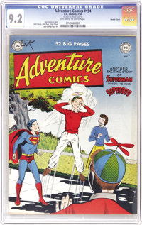 """Adventure Comics #154 Double Cover (DC, 1950) CGC NM- 9.2 Off-white to white pages. That crazy fad of 1950, the """"pr..."""