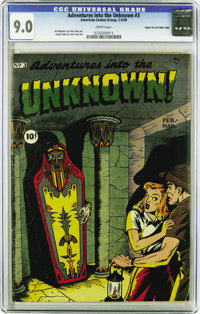 Adventures Into The Unknown #3 Mile High pedigree (ACG, 1949) CGC VF/NM 9.0 White pages. Pre-Code ACGs in this nice of a...
