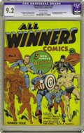 Golden Age (1938-1955):Superhero, All Winners Comics #1 (Timely, 1941) CGC NM- 9.2 Off-white pages. The best that Timely had to offer made up the cast of this...