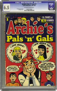 Archie's Pals 'n' Gals #1 (Archie, 1953) CGC FN+ 6.5 Off-white to white pages. This series was seemingly around forever...