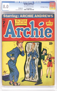 "Archie Comics #7 Davis Crippen (""D"" Copy) pedigree (Archie, 1944) CGC VF 8.0 Off-white to white pages. Key stu..."