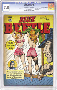 """Blue Beetle #54 Davis Crippen (""""D"""" Copy) pedigree (Fox Features Syndicate, 1948) CGC FN/VF 7.0 Off-white to wh..."""