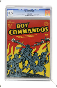 Boy Commandos #1 (DC, 1942) CGC VF+ 8.5 Off-white pages. As war raged on in 1942, Simon and Kirby helped fight it vicari...