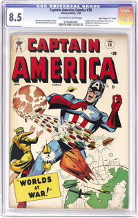 """Captain America Comics #70 Davis Crippen (""""D"""" Copy) pedigree (Timely, 1949) CGC VF+ 8.5 Off-white to white pag..."""
