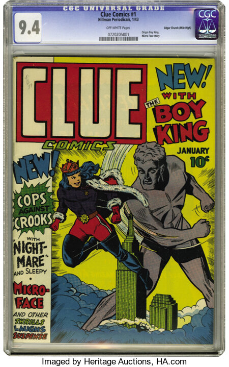 Clue Comics #1 Mile High pedigree (Hillman Publications, 1943) CGC NM 9.4 Off-white pages. Hillman brought out a whole new l...