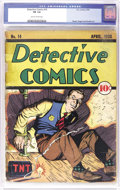 """Golden Age (1938-1955):Crime, Detective Comics #14 (DC, 1938) CGC FR 1.0 Slightly brittle pages. This book is a Gerber """"7,"""" and just five unrestored copie..."""