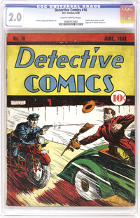 Detective Comics #16 (DC, 1938) CGC GD 2.0 Slightly brittle pages. These issues from the days before Batman are well wor...