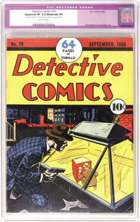 Detective Comics #19 (DC, 1938) CGC Apparent VF 8.0 Moderate (P) Light tan pages. Drawn in a similar style to the run of...