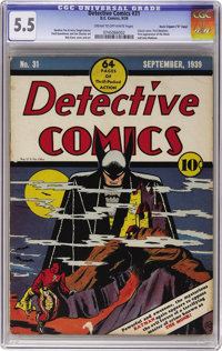 "Detective Comics #31 Davis Crippen (""D"" Copy) pedigree (DC, 1939) CGC FN- 5.5 Cream to off-white pages. This i..."