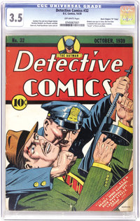 """Detective Comics #32 Davis Crippen (""""D"""" Copy) pedigree (DC, 1939) CGC VG- 3.5 Off-white pages. Not only does B..."""