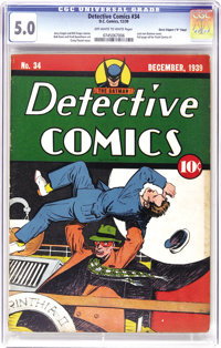 """Detective Comics #34 Davis Crippen (""""D"""" Copy) pedigree (DC, 1939) CGC VG/FN 5.0 Off-white to white pages. This..."""