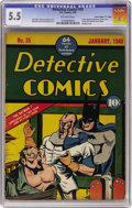 """Golden Age (1938-1955):Superhero, Detective Comics #35 Davis Crippen (""""D"""" Copy) pedigree (DC, 1940) CGC FN- 5.5 Off-white pages. Just one copy of this boo..."""