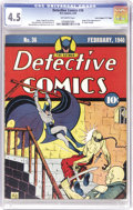 """Golden Age (1938-1955):Superhero, Detective Comics #36 Davis Crippen (""""D"""" Copy) pedigree (DC, 1940) CGC VG+ 4.5 Off-white pages. When you see a copy of this i..."""