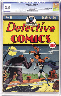 """Detective Comics #37 Davis Crippen (""""D"""" Copy) pedigree (DC, 1940) CGC VG 4.0 Off-white to white pages. This is..."""