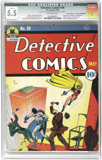 """Detective Comics #39 Davis Crippen (""""D"""" Copy) pedigree (DC, 1940) CGC Qualified FN- 5.5 Off-white pages. Just..."""