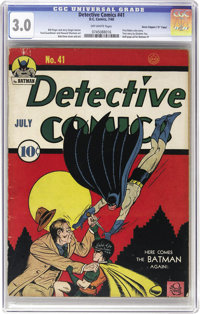 """Detective Comics #41 Davis Crippen (""""D"""" Copy) pedigree (DC, 1940) CGC GD/VG 3.0 Off-white pages. Three issues..."""