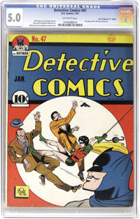 """Detective Comics #47 Davis Crippen (""""D"""" Copy) pedigree (DC, 1941) CGC VG/FN 5.0 Off-white pages. This copy of..."""