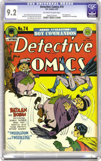 Detective Comics #74 (DC, 1943) CGC NM- 9.2 Off-white to white pages. Tweedledum and Tweedledee, two look-alike cousins...