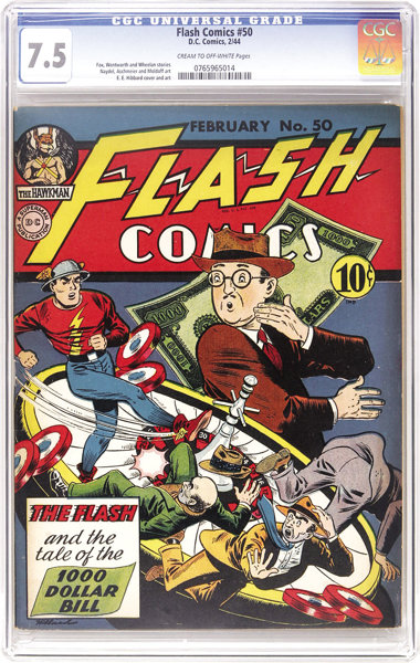 Flash Comics #50 (DC, 1944) CGC VF- 7 5 Cream to off-white