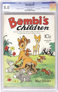"""Golden Age (1938-1955):Cartoon Character, Four Color #30 Bambi's Children - Davis Crippen (""""D"""" Copy) pedigree (Dell, 1943) CGC VF 8.0 Off-white to white pages. The wh..."""