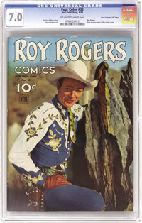 "Four Color #38 Roy Rogers - Davis Crippen (""D"" Copy) pedigree (Dell, 1944) CGC FN/VF 7.0 Off-white to white pa..."