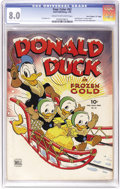"Golden Age (1938-1955):Cartoon Character, Four Color #62 Donald Duck in ""Frozen Cold"" - Davis Crippen (""D""Copy) pedigree (Dell, 1945) CGC VF 8.0 Cream to off-white pag..."