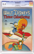 """Golden Age (1938-1955):Cartoon Character, Four Color #71 Three Caballeros - Davis Crippen (""""D"""" Copy) pedigree (Dell, 1945) CGC VF 8.0 Cream to off-white pages. Featur..."""