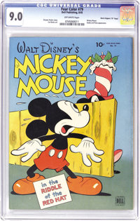 "Four Color #79 Mickey Mouse - Davis Crippen (""D"" Copy) pedigree (Dell, 1945) CGC VF/NM 9.0 Off-white pages. As..."