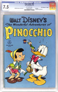 """Golden Age (1938-1955):Cartoon Character, Four Color #92 Pinocchio - Davis Crippen (""""D"""" Copy) pedigree (Dell, 1946) CGC VF- 7.5 Off-white pages. Donald Duck and Pinoc..."""