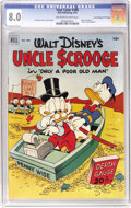"""Golden Age (1938-1955):Cartoon Character, Four Color #386 Uncle Scrooge in """"Only a Poor Old Man"""" - Davis Crippen (""""D"""" Copy) pedigree (Dell, 1952) CGC VF 8.0 Off-white t..."""